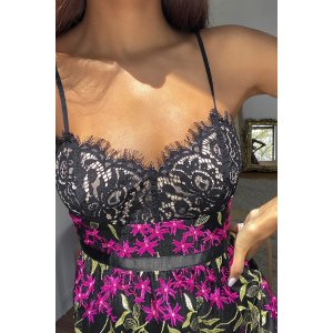 LULUSDivine Delight Black Floral Embroidered Maxi Dress