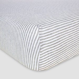 Burt's Bees Baby® Organic Fitted Crib Sheet - Bee Essentials - Stripe : Target