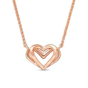 The Kindred Heart from Vera Wang Love Collection Mini Necklace in 14K Rose Gold - 19"