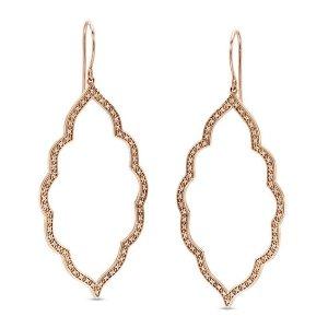 1/4 CT. T.W. Diamond Arabesque Drop Earrings in 10K Rose Gold|Zales