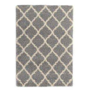 Ottomanson 灰色格纹长毛地毯 8 ft. x 10 ft.