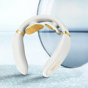 Black Friday Exclusive: SKG Smart Neck Massager with Heating Function & Voice Broadcast Wireless Neck Massage Equipment with 24k Gold Conducting Strip-White