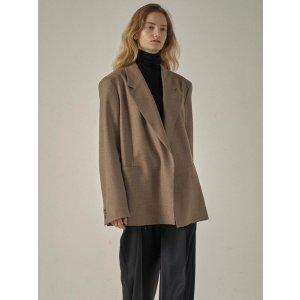 Oversized melange wool jacket_Cocoa Brown