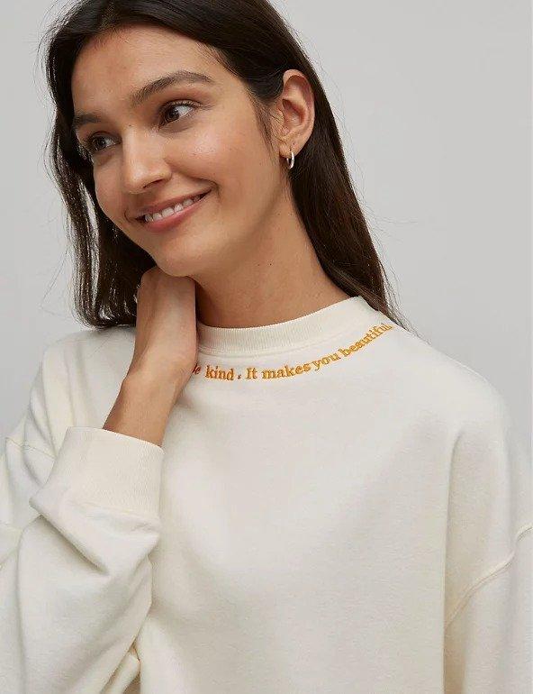 白色棉质刺绣宽松运动衫