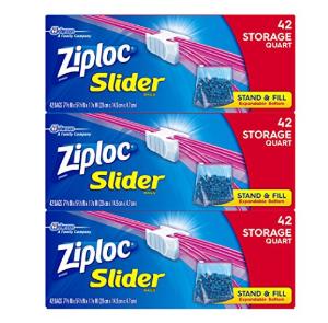 $10Ziploc Quart Slider Storage Bags, 126 Count