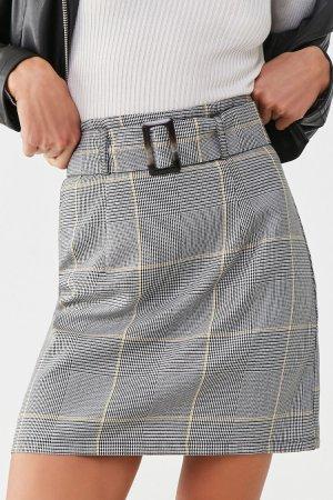 Glen Plaid Belted Mini Skirt | Forever 21
