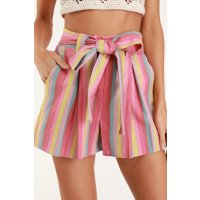 超仙彩虹条纹短裤