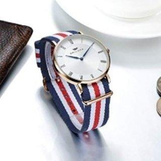 $15.72(原价$29.99) 男女均可戴BRIGADA 极简布带圆表盘腕表,DW评价款