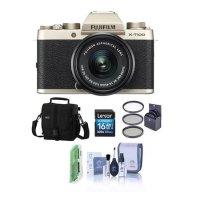 Fujifilm X-T100 无反数码相机机身 金色 配XC15-45mm 镜头