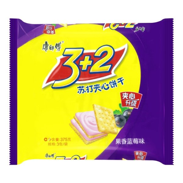 康师傅 3+2苏打夹心饼干 果香蓝莓味 三连包 375g