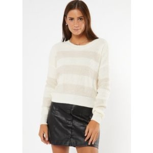 Cream Striped High Low Sweater