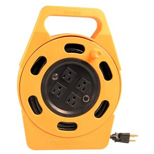 Woods 2801 Extension Cord Reel With Four 3-Prong Power Outlets