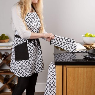 $6.84DII Cotton Adjusatble Women Kitchen Apron with Pockets and Extra Long Ties, 37.5 x 29
