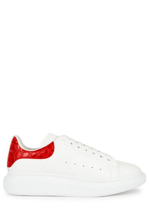 鳄鱼压纹红尾小白鞋