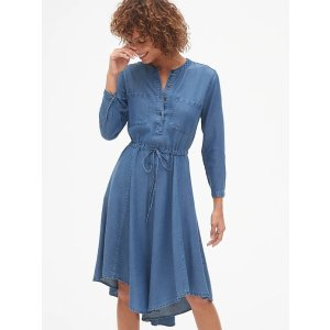 GapPerfect Long Sleeve Tie-Waist Shirt Dress in TENCEL™