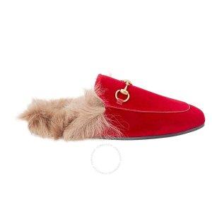 红色毛拖乐福鞋  37