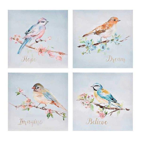 鸟儿挂画四件套
