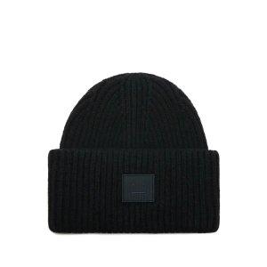 Acne Studios黑色笑脸毛线帽