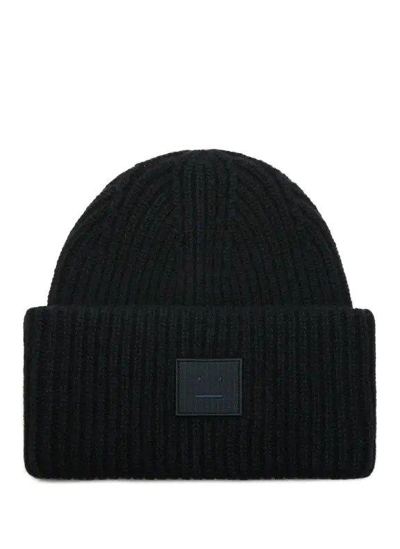 黑色笑脸毛线帽
