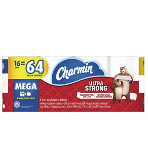 $17.75(原价$23.49)划算!Charmin 超大卷强韧厕纸(16个超大卷相当于普通64卷)