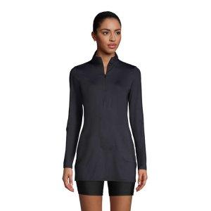 Lands' EndWomen's Quarter Zip Long Sleeve Tunic Rash Guard Cover-up UPF 50 Sun Protection