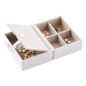 White Folding Travel Jewelry Storage Tray