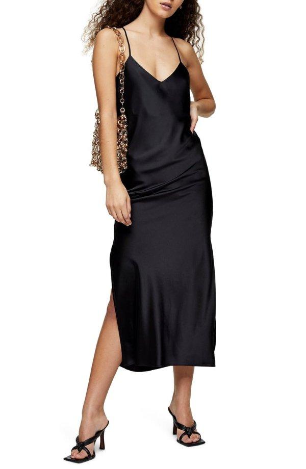 缎面吊带裙