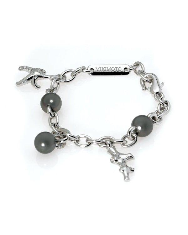 18K白金钻石黑珍珠手链