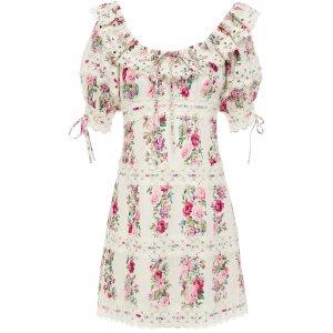 ZimmermannHonour crochet-trimmed pintucked floral-print cotton mini dress