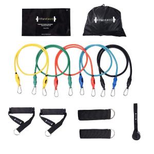 $9.99(原价$29.99)史低价:PIN JIAN 健身弹性拉力绳 12件套 家用健身必备