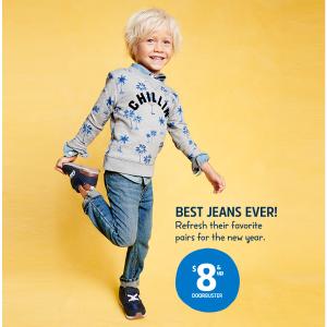 $8起/条 原价$30-$34Oshkosh Bgosh官网 儿童牛仔裤促销 0-14岁码都有