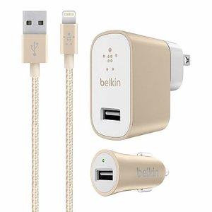 仅$12.97 超级划算Belkin 充电插头+汽车充电插头+数据线 3件套