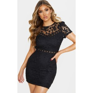 Black Lace Backless Cap Sleeve Bodycon Dress