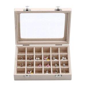 YFLY Velvet Glass Jewelry Ring Earring Display Organizer Box