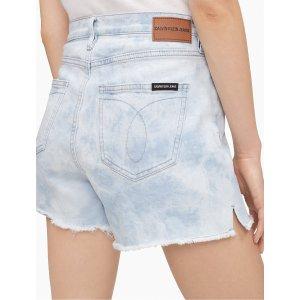 Calvin KleinTie-Dye High Rise Side Split Denim Shorts