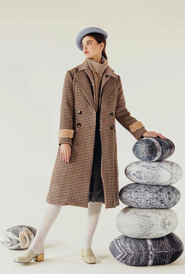 britta 羊毛大衣-巧克力格纹
