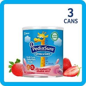 PediaSureGrow & Gain Non-GMO Shake Mix Powder, Nutritional Shake For Kids, With Protein, DHA, Antioxidants, and Vitamins & Minerals, Strawberry, 14.1 oz, 3 Count