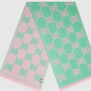Gucci羊毛围巾 粉绿色