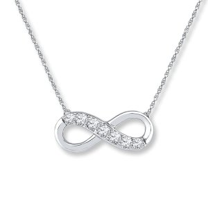 Infinity Symbol Necklace Lab-Created Sapphires 10K White Gold|Kay