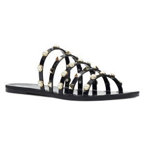 Nine West珍珠铆钉拖鞋