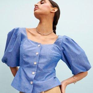 低至2折 多款蕾丝美裙$100+Sandro 美衣热卖,蕾丝拼接衬衫$84,封面同款上衣$106