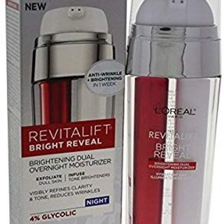 L'Oréal Paris Skincare Revitalift Bright Reveal Dual Overnight Face Moisturizer with Glycolic Acid, Anti-Wrinkle and Brightening Night Treatment, 1 fl. oz @ Amazon.com