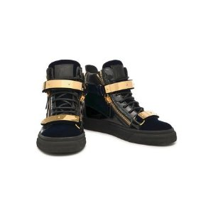 0afa6f206f892 Giuseppe ZanottiSmooth and patent leather-trimmed velvet high-top sneakers