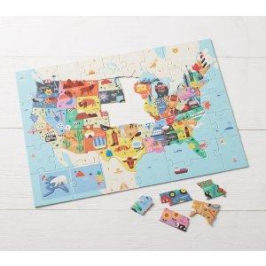 Pottery Barn Kids美国地图拼图