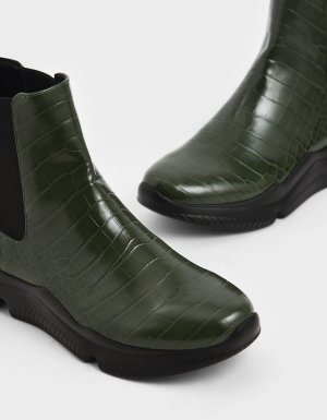Charles & Keith Croc-Effect Chunky Sole Chelsea Boots