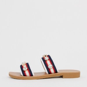 ASOSRiver Island two strap sandals with embellishment in red | ASOS