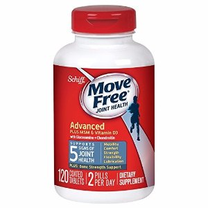 Move Free需点击额外10%优惠券加强型维骨力MSM+维生素D3 120粒 大瓶装