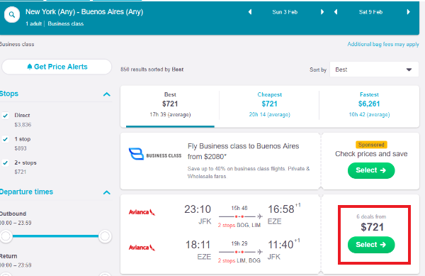 9d7ec432ec0 $721 on Business roundtrip New York to Buenos Aires, Aregentina error  airfare@ Skyscanner