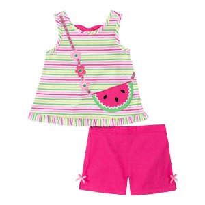 Kids HeadquartersPink & Green Stripe Watermelon Ruffle-Hem Tank & Shorts - Infant, Toddler & Girls