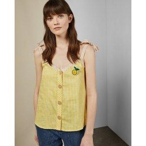 Ted Baker黄色竖条纹吊带上衣